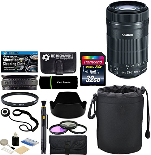 Canon EF-S 55-250mm F/4-5.6 IS STM Telephoto Zoom Lens for EOS 7D, 60D, EOS 70D, Rebel SL1, T1i, T2i, T3, T3i, T4i, T5,