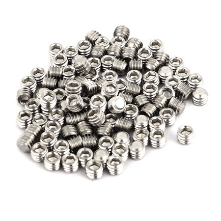 Uxcell M4 x 3mm 304 Stainless Steel Hex Socket Drive Flat Point Grub Screw (100-pack)