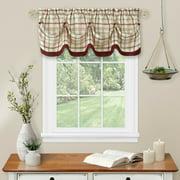 Country Farmhouse Plaid Tattersall Button Tuck Window Valance - Burgundy