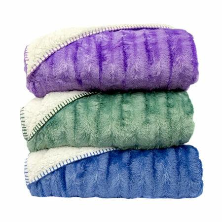 Green Sherpa - Cozy Fleece LLC Oversized Super Soft Plush Fleece and Sherpa Throw Blanket