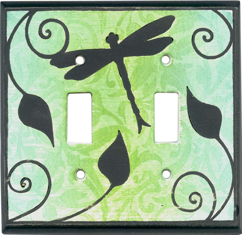 Dragonfly Silhouette Ceramic Double Toggle Switch Plates Walmart Com Walmart Com