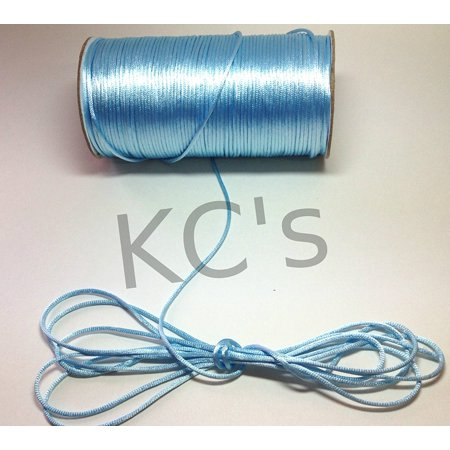 - 50 Yards - 2mm Light Blue Satin Rattail Cord Chinese/china Knot Rat Tail Jewelry Braid 100% Polyester, From US,Brand generic