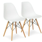 Best Choice Products Set of 2 Mid-Century Modern Dining Arm Chairs w/ Molded Plastic Shell - White