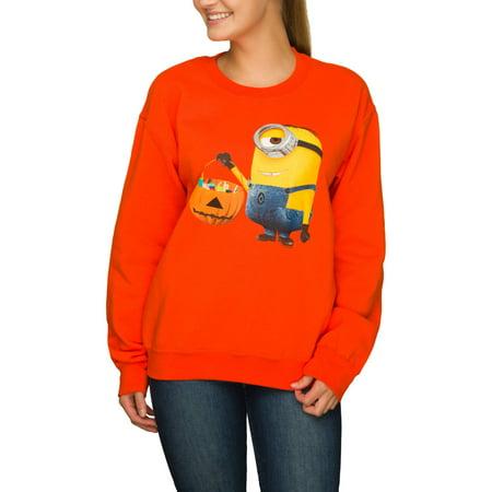 Despicable Me Junior Womens Orange Minion Candy Halloween Sweatshirt Top (Top Halloween Candy 10)