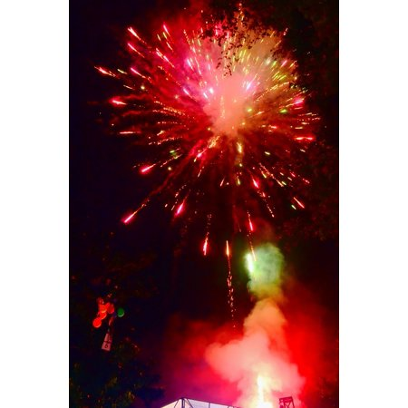 Canvas Print Fireworks Party Hanabi Stretched Canvas 10 x 14 - Hawaii Games For Parties