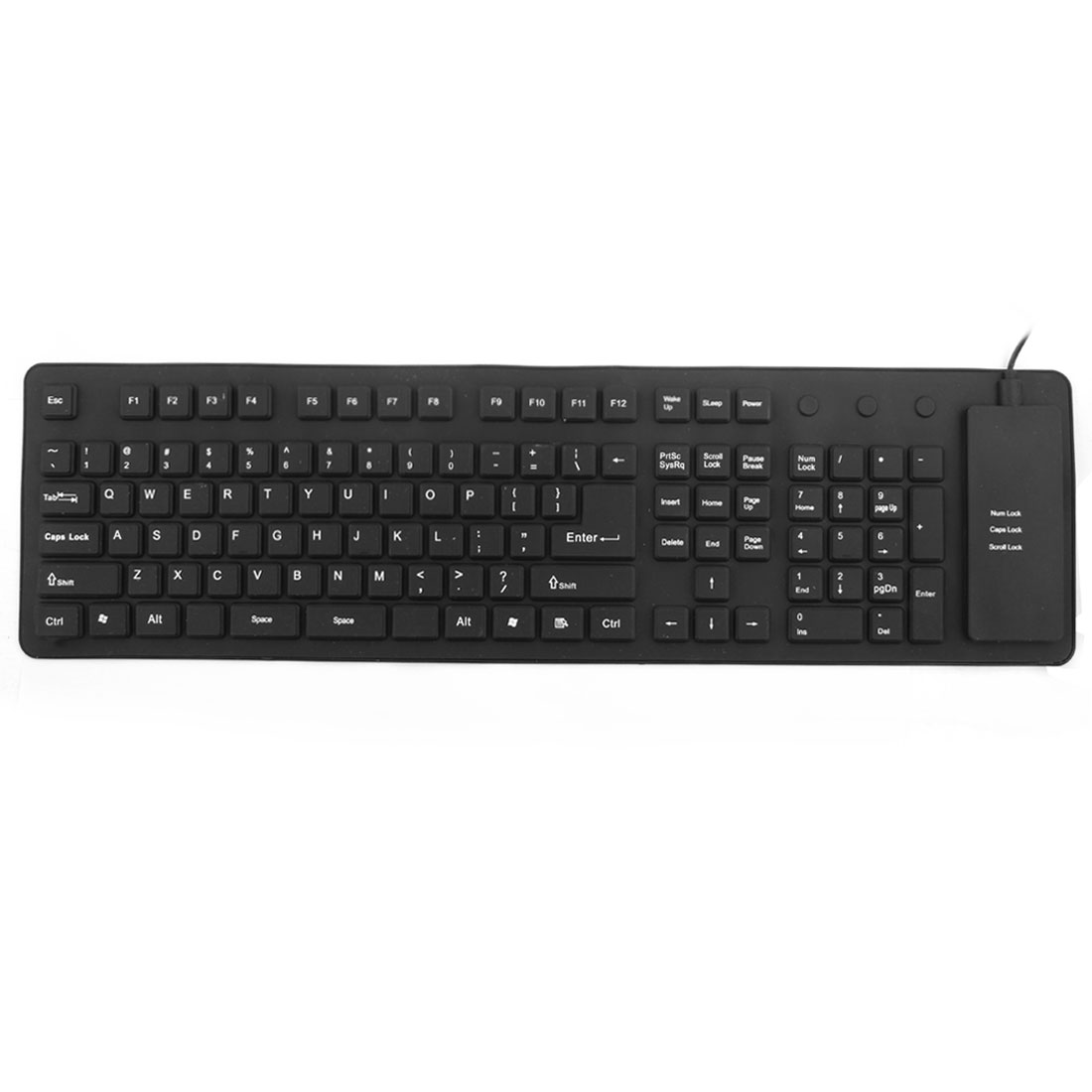 Unique BargainsFoldable Flexible 109 Keys USB Wired Roll up Silicone Keyboard Black for Laptop