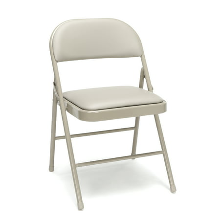 Essentials by OFM ESS-8210 Multipurpose Padded Metal Folding Chair, Antique Linen, Pack of 4 Metal Set Folding Chair
