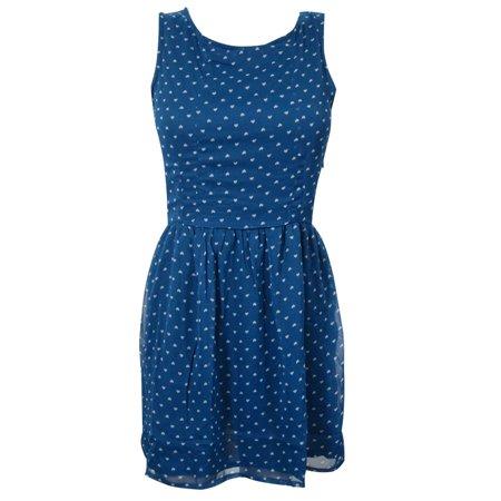 Cut Out Dress (Mogul Women's Evening Beach Dress Blue Printed Sleeveless Cut Out Back)