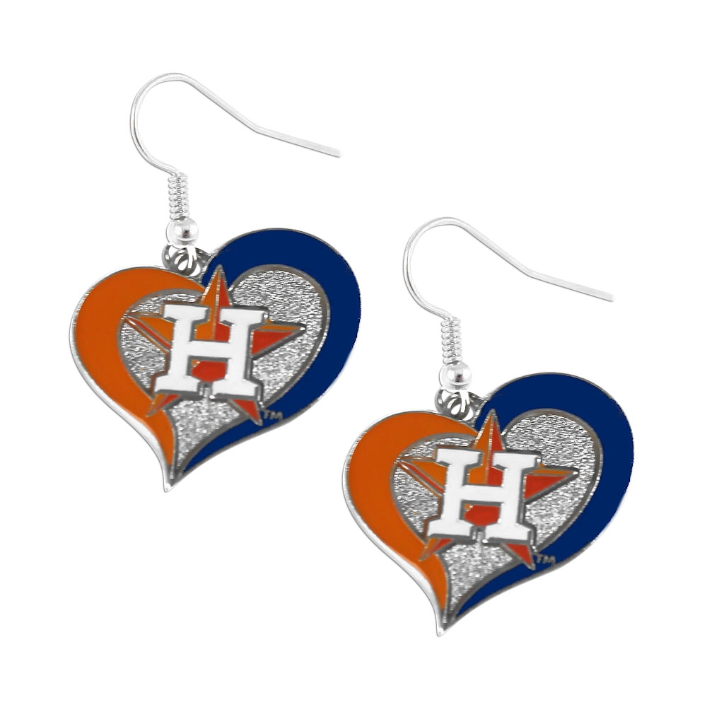 Houston Astros Swirl Heart Sports Team Logo Dangle Earring Set MLB Charm Gift