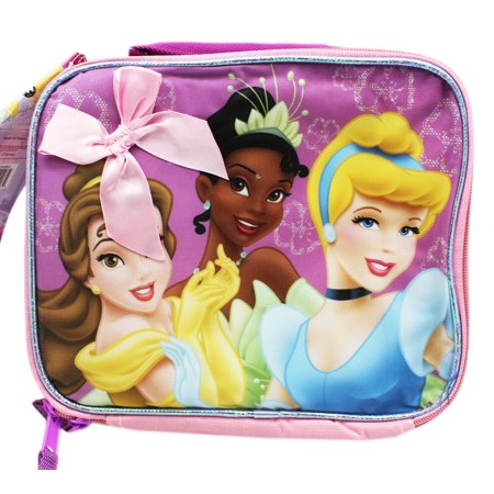 Disney Princess Belle, Tiana and Cinderella Light Pink Kids Lunch Bag