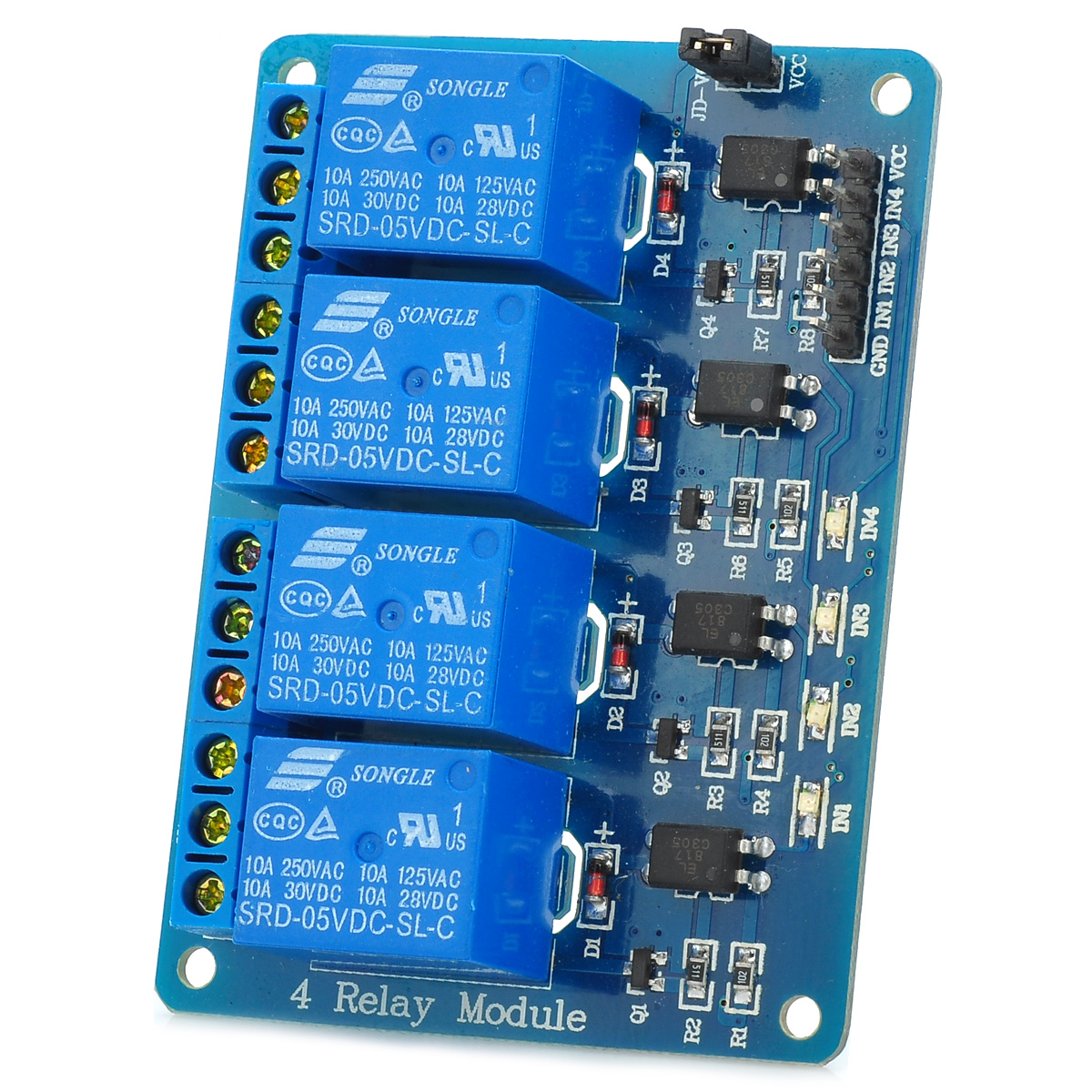 4 Channel 5V Relay Module Board w/ Optocoupler Isolation for Arduino  ARM AVR