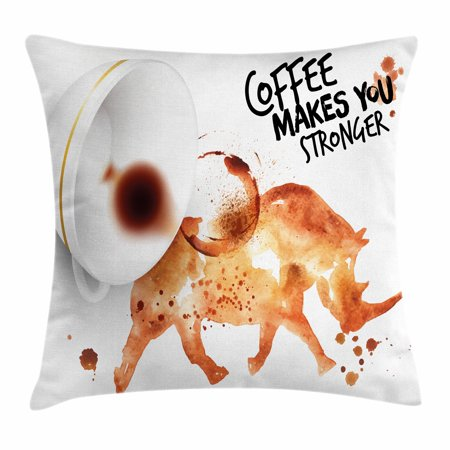 Coffee Art Throw Pillow Cushion Cover, Wild Rhino Animal from Spilled Hot Beverage Stain Latte Cappuccino, Decorative Square Accent Pillow Case, 18 X 18 Inches, Burnt Sienna Black White, by Ambesonne