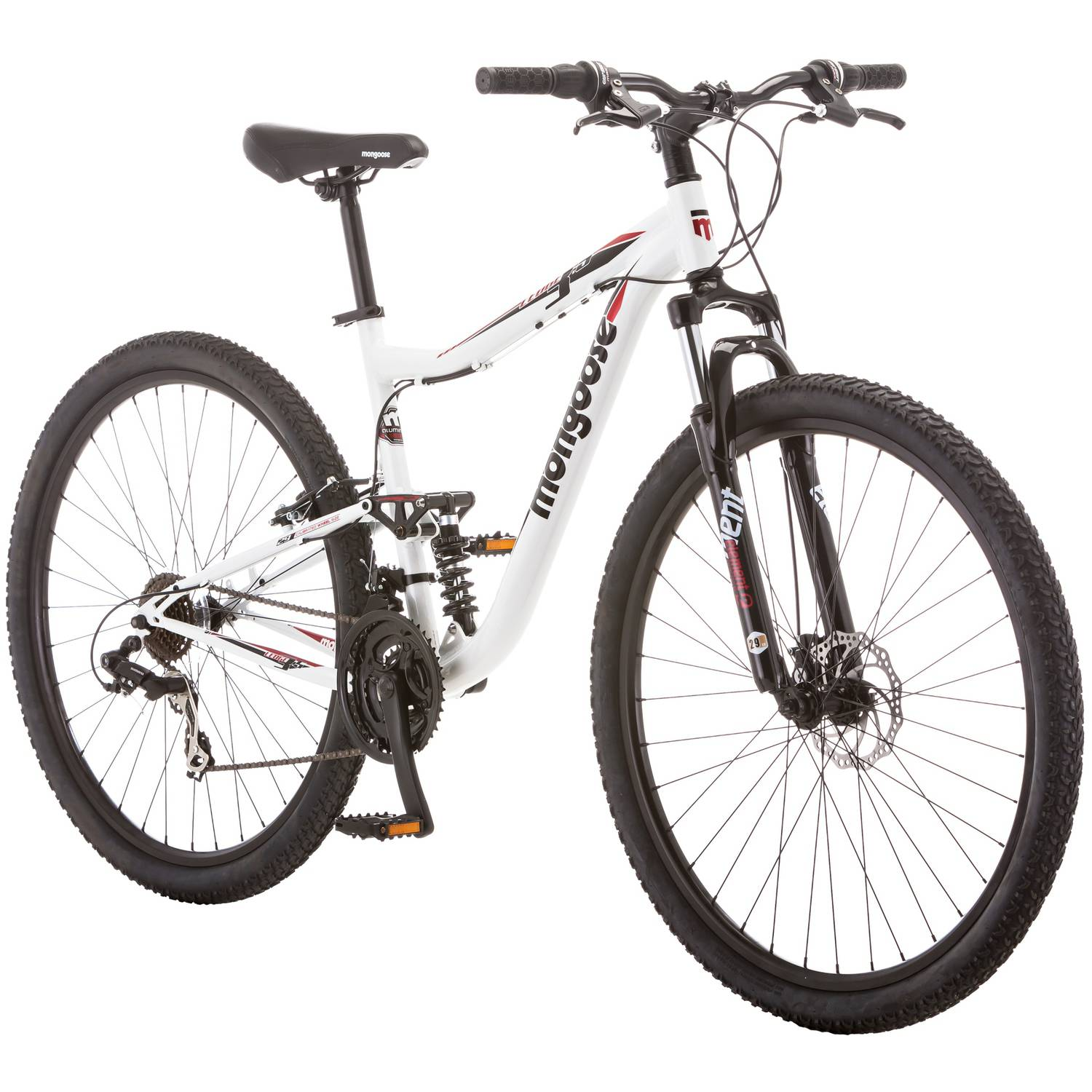 "29"" Mongoose Ledge 3.5 Men's Mountain Bike, White/Red"