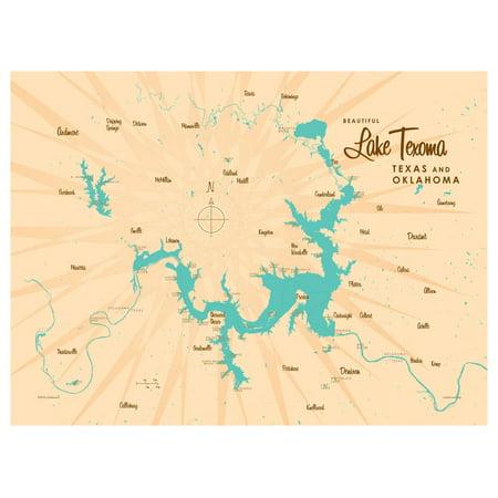 Lake Texoma TX Oklahoma Map Vintage-Style Art Print by Lakebound (9