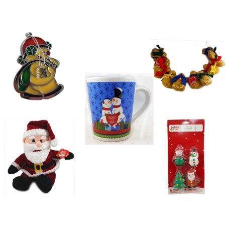 Christmas Fun Gift Bundle [5 Piece] - Russ Berrie Stained Glass Snowman Santa Ornament - String of Gingerbread  w/ Wood Stars & Hearts 4.5' Feet  - Happy s!