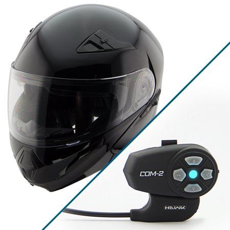 Hawk Xfz 9120 Gloss Black Modular Helmet With Hawk Com 2 Bluetooth Intercom