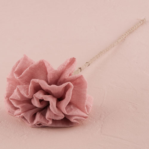 Large Fabric Ruffle on Wire Stem Flower in Putty Grey