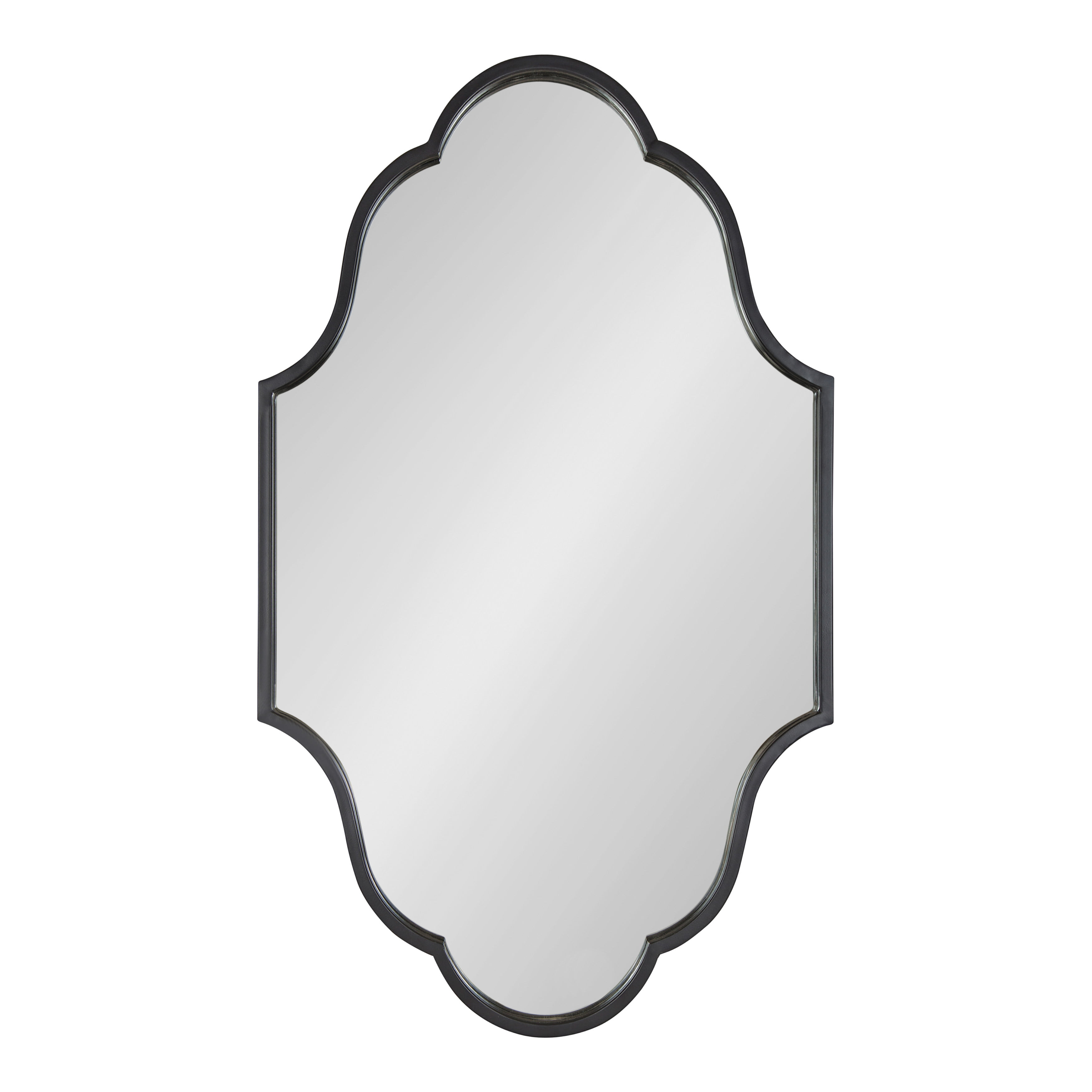 Kate And Laurel Rowla Glam Scalloped Wall Mirror 23 X 37 Black Chic Sophisticated Accent Mirror For Decor Or Bathroom Vanity Walmart Com Walmart Com