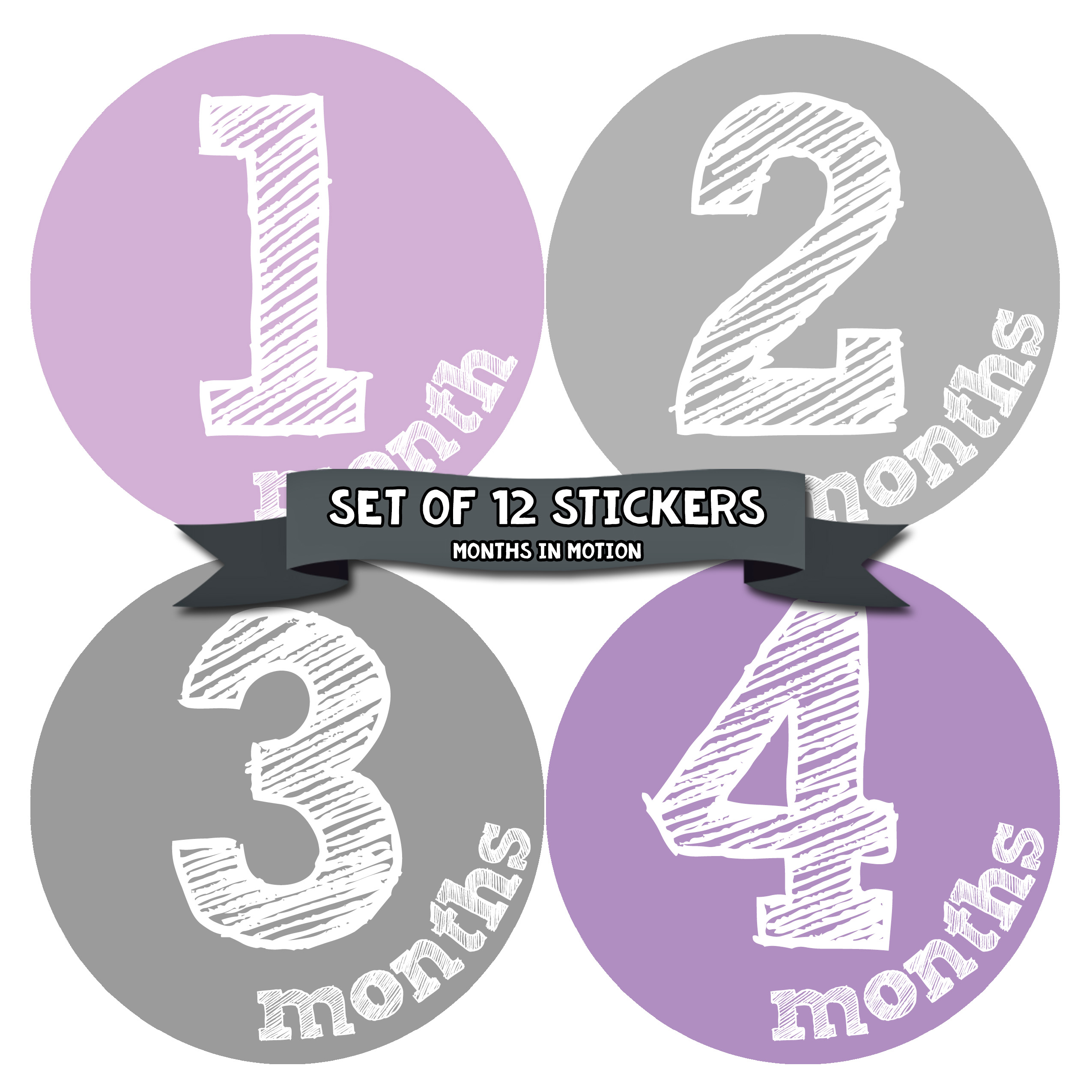 Monthly Baby Stickers by Months In Motion | 12 Month Milestone Sticker for Newborn Babies (Style 823)