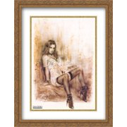 Alone 2x Matted 28x40 Large Gold Ornate Framed Art Print by Luis Royo