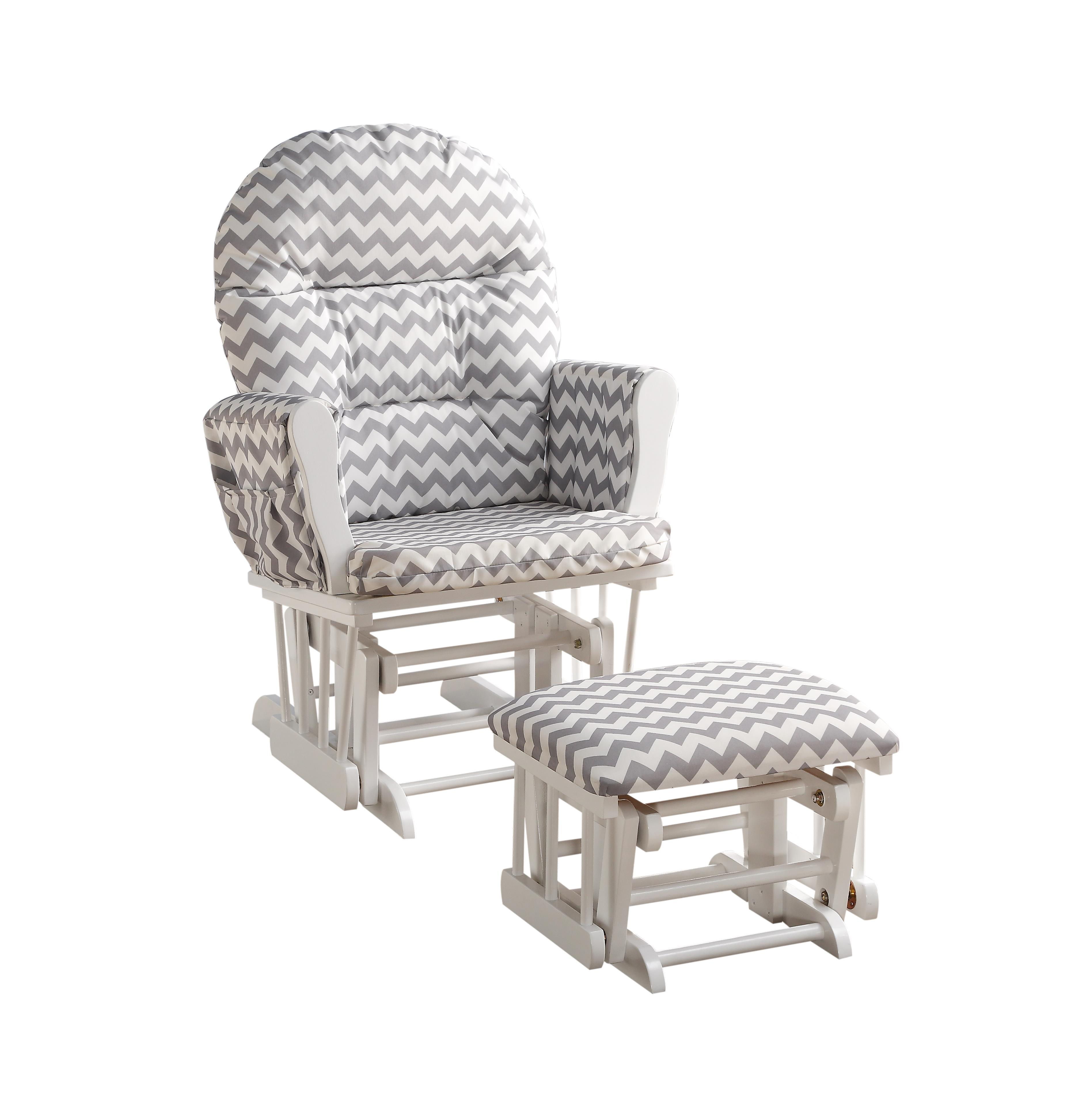 Naomi Home Brisbane Glider & Ottoman Set-Cushion Color:Gray Chevron,Finish:White