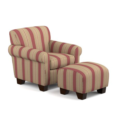 Homesvale Ward Arm Chair and Ottoman in Crimson Red Stripe ()