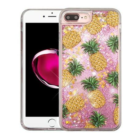 Apple iPhone 7 Plus Case - Wydan Slim Hybrid Liquid Bling Glitter Sparkle Quicksand Waterfall Shockproof TPU Phone Cover Pineapple -