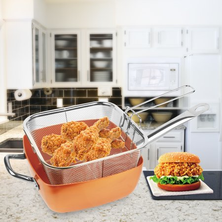 iMounTEK [Non Stick] Multi-Function Square  Deep Frying Basket, Steamer Tray, Frying/Cooking/Saut? Pan W/ Lid- Fry, Boil, Steam?[Ceramic/Aluminum/Stainless Steel] Oven Safe [4 PIECE