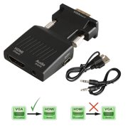 TSV 1080P VGA to HDMI Converter Adapter for Computer, Desktop, Laptop, PC, Monitor, Projector, HDTV with Audio Cable and USB Cable (Pure Copper Plugs)