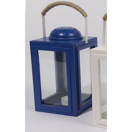 "9"" Beach Day Cape Cod Cottage Style Royal Blue Tea Light Candle Holder Lantern"