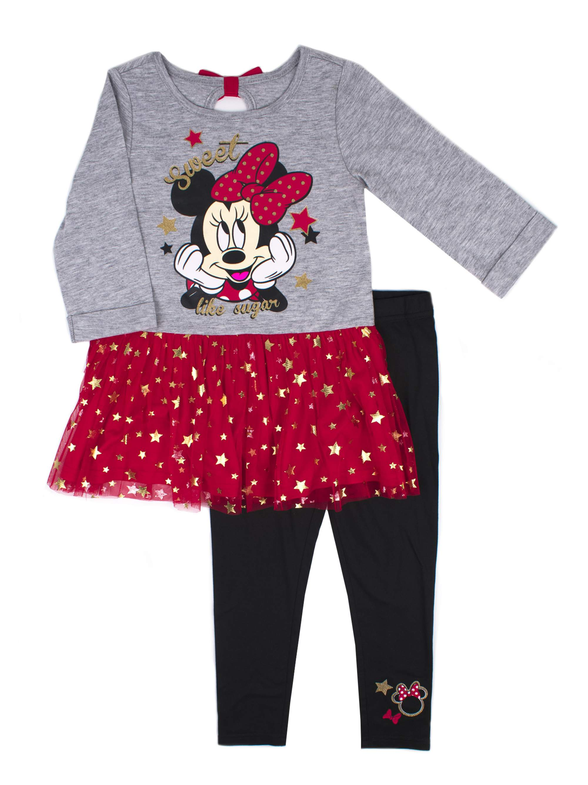 Jersey Foil Tulle Tunic & Legging, 2-Piece Outfit Set (Little Girls)