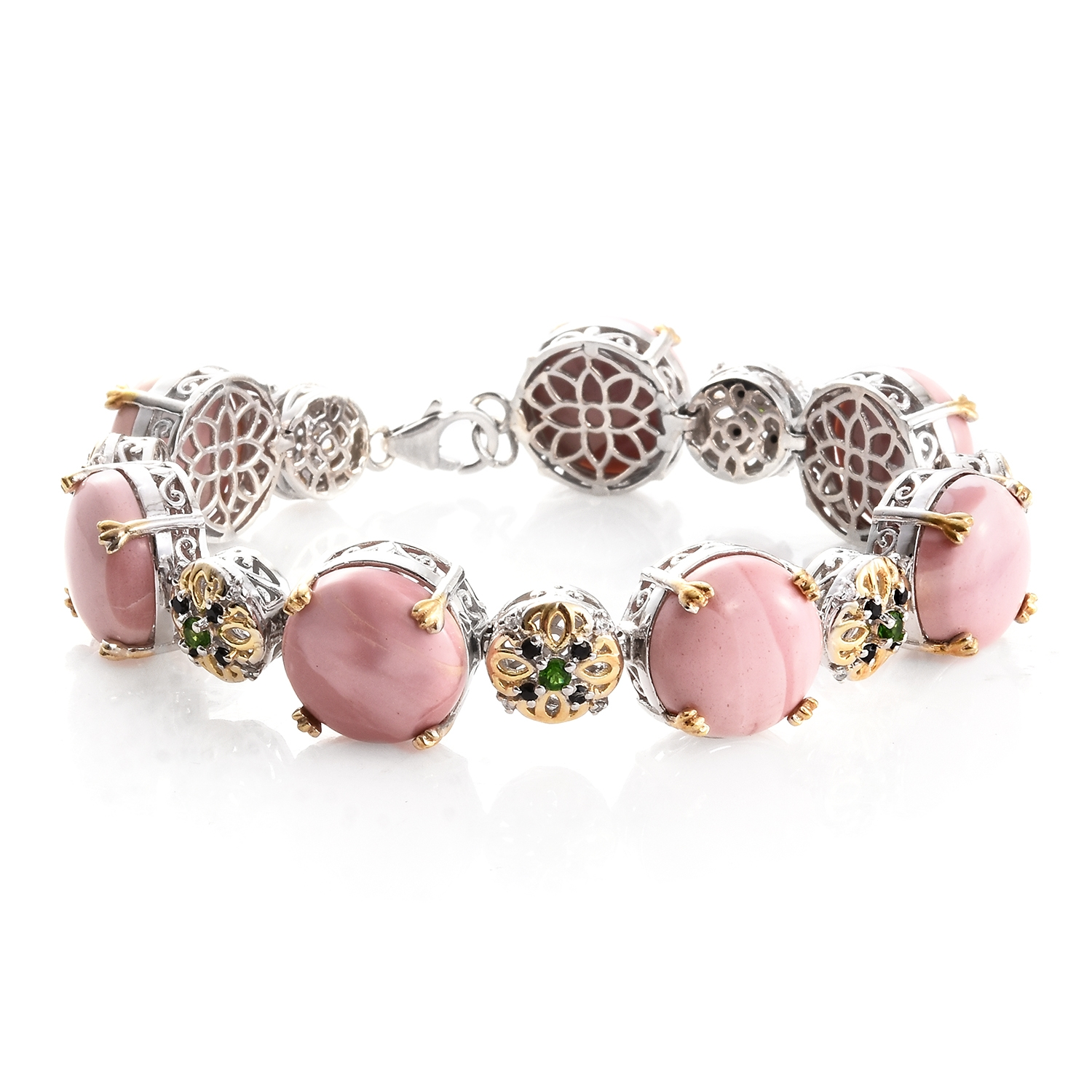 "Pink Opal, Multi Gemstone 14K Yellow Gold and Platinum Plated Silver Bracelet For Women 7.50"" by Shop LC"