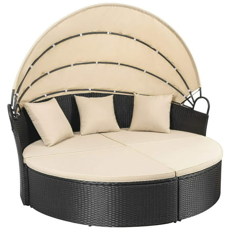 Walnew Outdoor Patio Round Daybed with Retractable Canopy Wicker Furniture Sectional Seating with Washable Cushions for Patio Backyard Porch Pool Daybed Separated Seating (Beige) ()