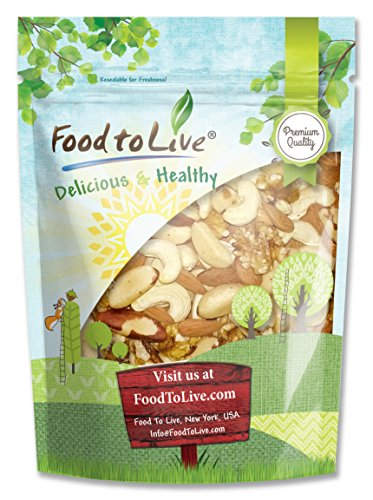 Food to Live Healthy Mix of Raw Nuts (Cashews, Brazil Nuts, Walnuts, Almonds) (8 Ounces) by