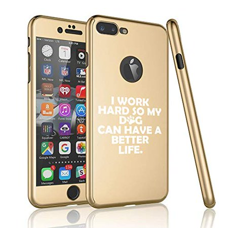 360° Full Body Thin Slim Hard Case Cover + Tempered Glass Screen Protector for Apple iPhone I Work Hard So My Dog Can Have A Better Life (Gold, for Apple iPhone 6 / (My Iphone 6 Fell In The Toilet)