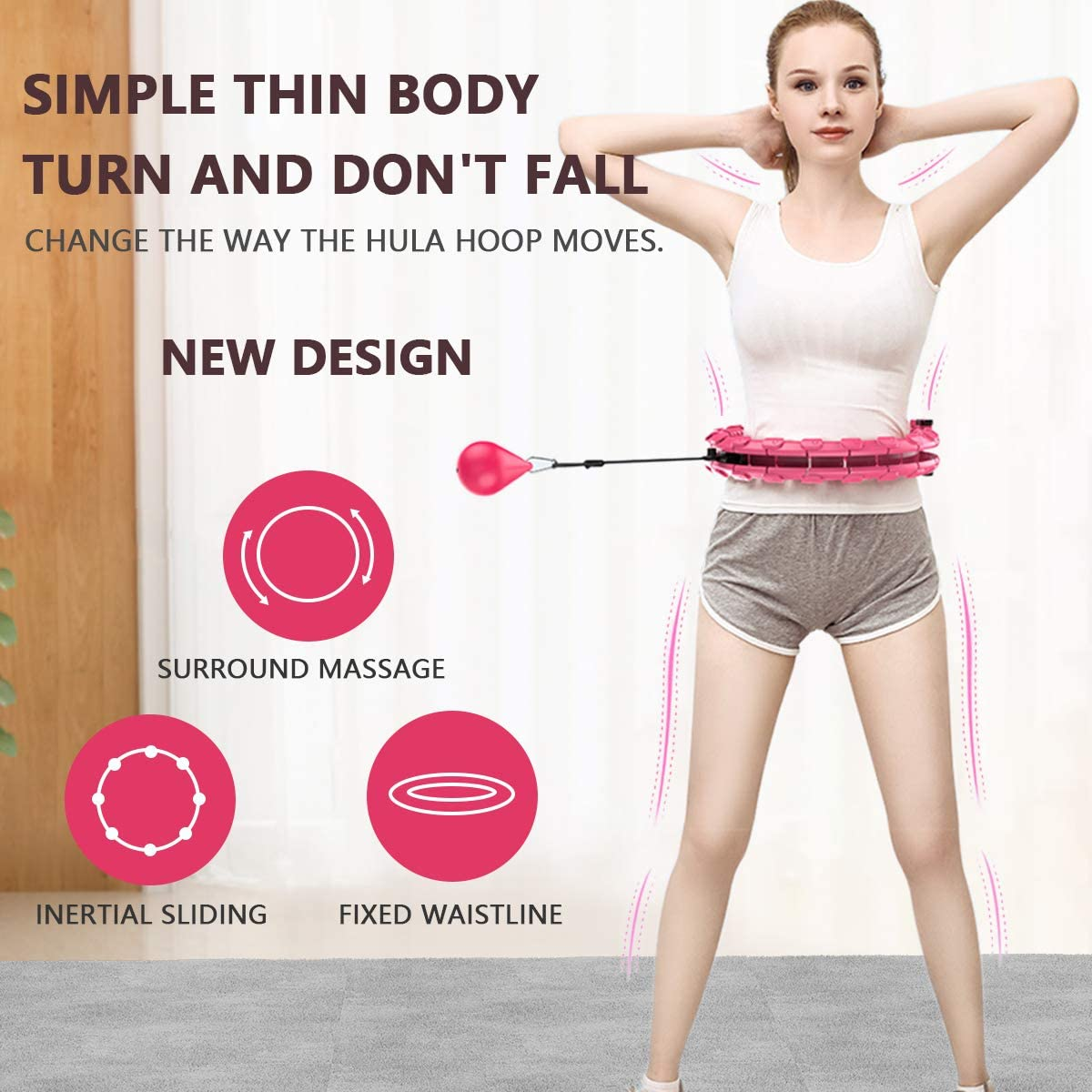 Weighted Hula Hoop Adjustable24 Knots Smart Weighted Hula Hoop Smart Hula Hoop with Massage Nut Hula Hoop Hula Hoop Fitness for Women and Man Exercise for Legs Waist and Hips