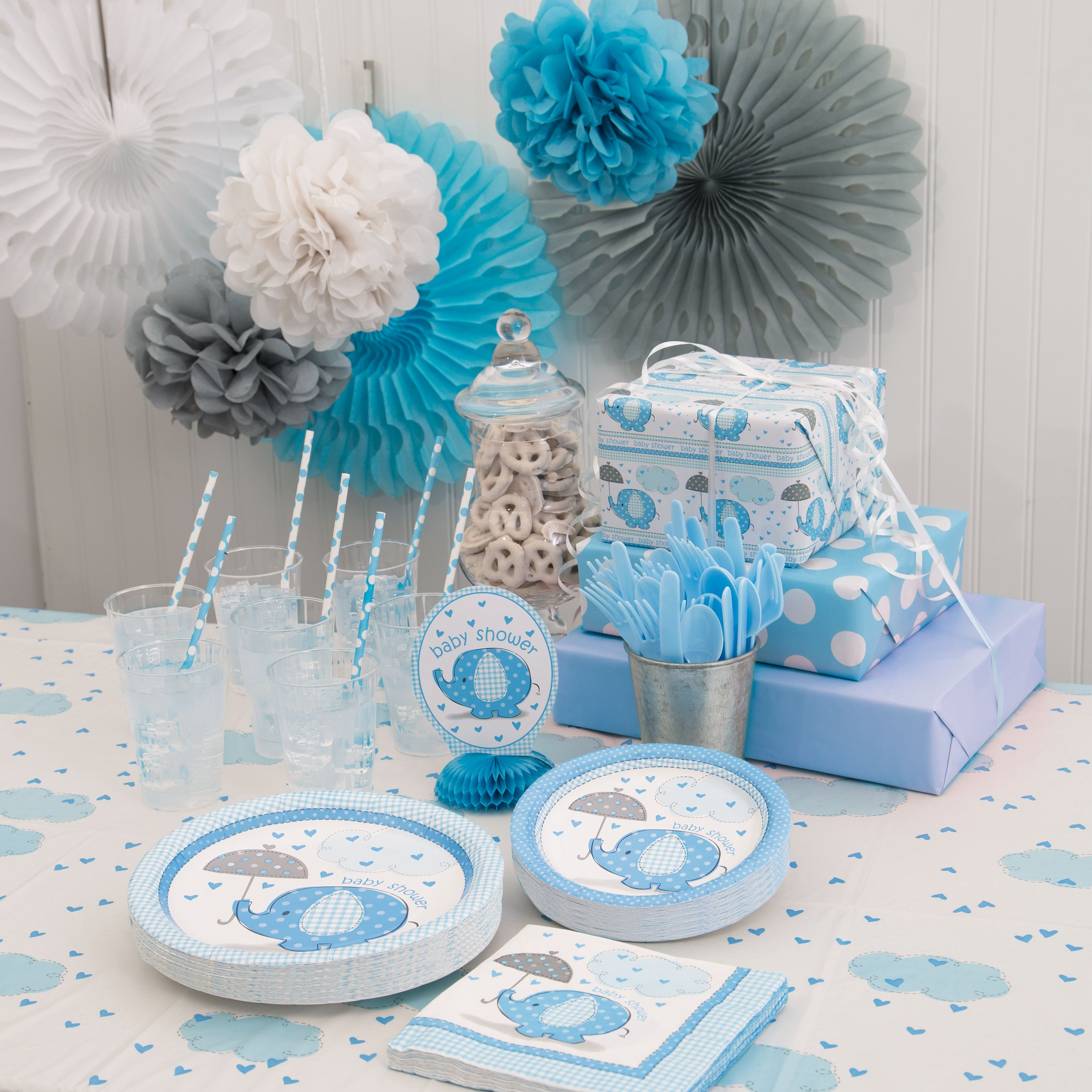 Elephant Themed Baby Shower: Blue Elephants Baby Shower Supplies