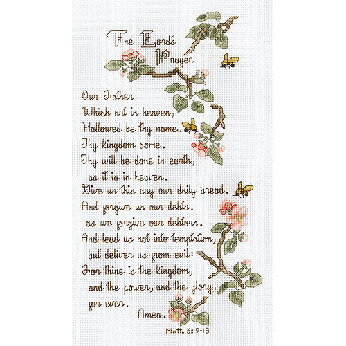 "Janlynn The Lord's Prayer Counted Cross Stitch Kit, 5-1/2"" x 10"", 14 Count"