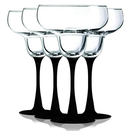 Midnight Black Margarita Glasses with Beautiful Colored Stem Accent - 14.5 oz. set of 4- Additional Vibrant Colors Available by TableTop