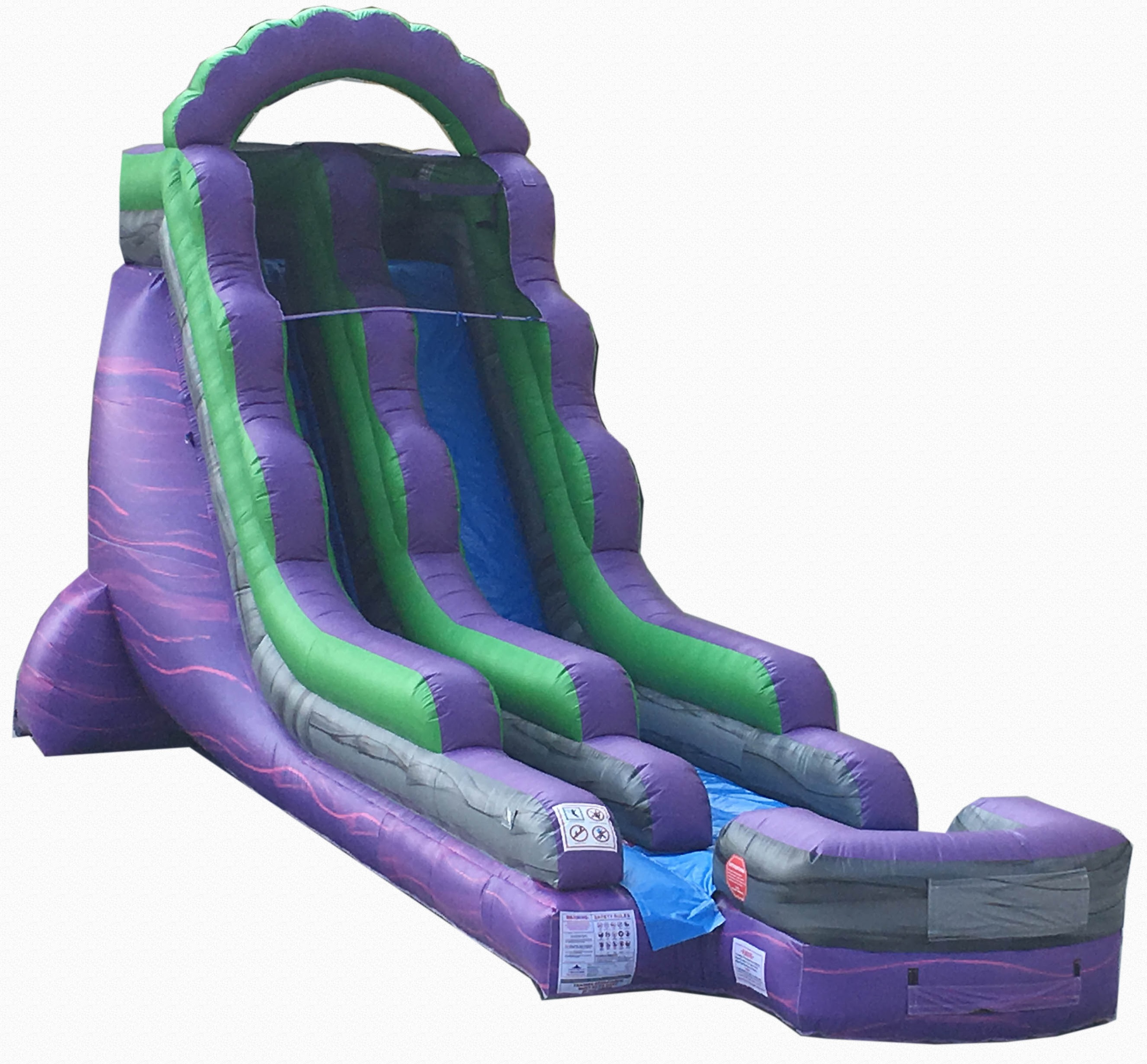 Click here to buy Pogo 18' Purple Marble Commercial Inflatable Waterslide with Blower Kids Bouncy Jumper by Pogo Bounce House.