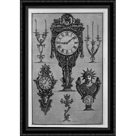 Three clocks and three candelabra 28x40 Large Black Ornate Wood Framed Canvas Art by Giovanni Battista Piranesi ()