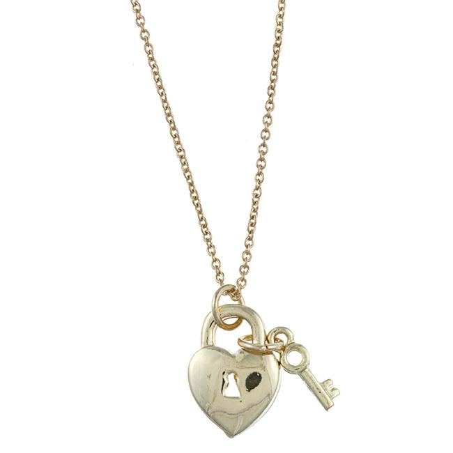 Zirconmania 629P-11819G Gold Tone Heart Lock and Key Love Charm Necklace