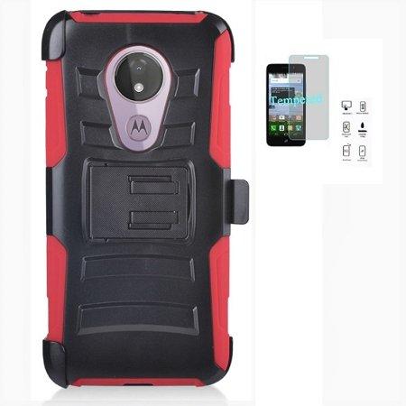 Moto G7 Power Case, Phone Case for Moto G Power 7th Gen/Moto G7 Power/Moto G7 Supra (Not Fit: Moto G7), Heavy Duty Shockproof Holster Case Cover Swivel Belt Clip (Red)