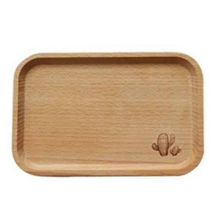 Fancyleo Cartoon Wooden Tray Bread Fruit Holder Desserts Snack Dish Organizer Serving Tray Storage Plate Rectangular Bamboo Tea Tray ()