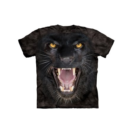 Black Cotton Aggressive Panther Design Novelty Adult T-Shirt
