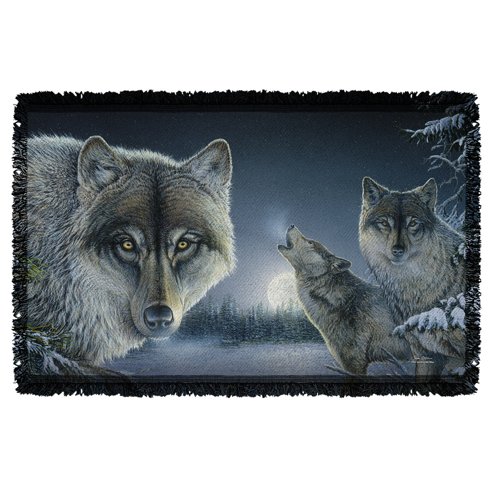 Wild Wings Midnight Wolves 2 Sublimation Woven Throw