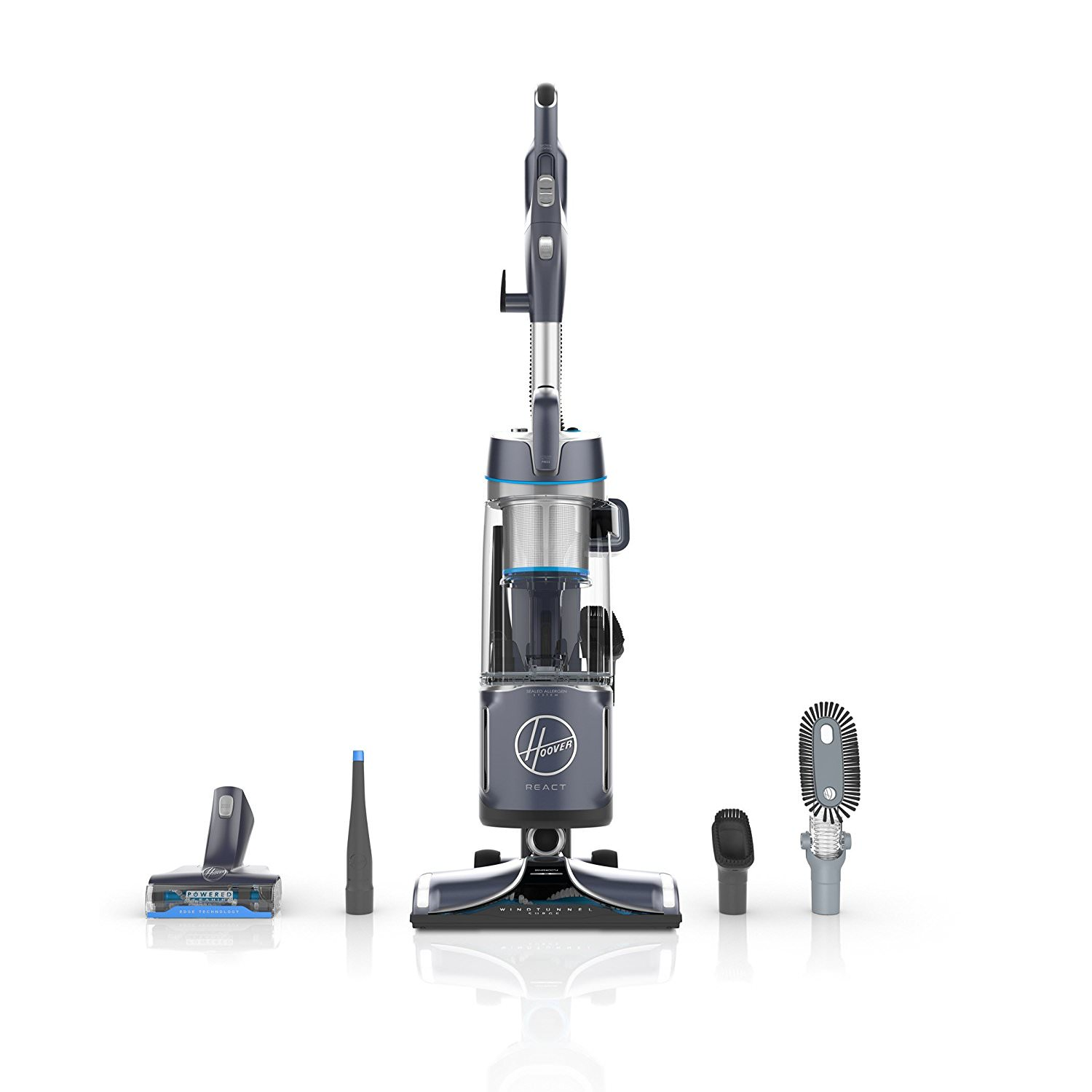 Hoover REACT Powered Reach Plus Bagless Upright Vacuum