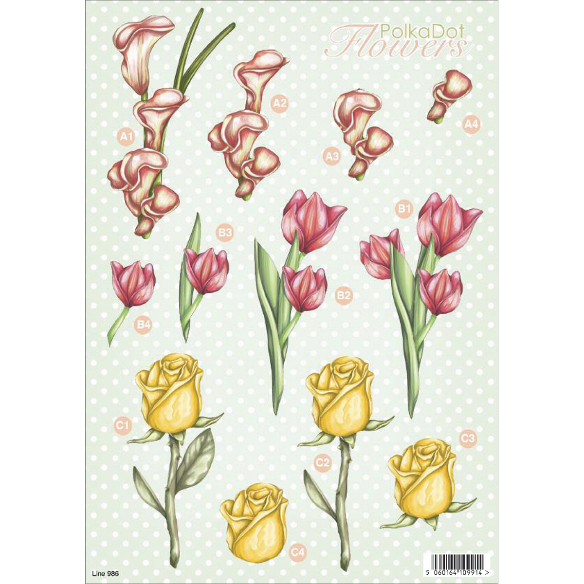 "3D Die-Cut Decoupage Sheet 8.3""X11.69""-Polka Dot Flowers"