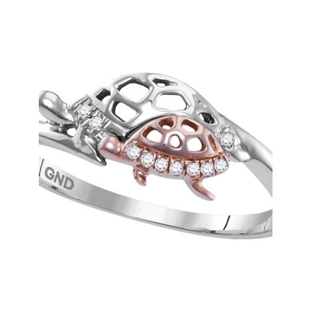 Silver Round Turtle - Sterling Silver Womens Round Diamond Rose Turtle Animal Band Ring 1/20 Cttw