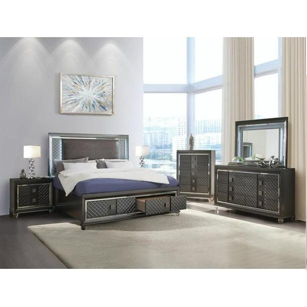 4pc Metallic Gray Contemporary Bedroom Furniture Queen Size Storage Bed Walmart Com Walmart Com